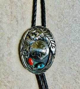 SOUTHWEST Genuine TURQUOISE And CORAL LEATHER BOLO TIE