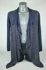 Gharani Strok Denim Blue Linen and Cotton Double Layer Waterfall Cardigan 12 Med