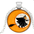 Halloween  Spooky Witch On broom Halloween Pendant Necklace Free Shipping