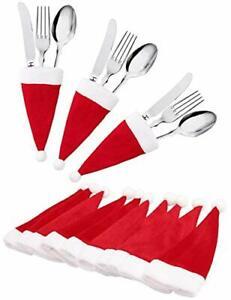 10 Mini Santa Hats Christmas Cutlery Holders Table Decoration Tableware Covers