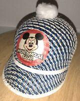 Vintage MICKEY MOUSE CLUB 60s 70s Hat Pom Pom Woven WALT DISNEY PRODUCTIONS RARE