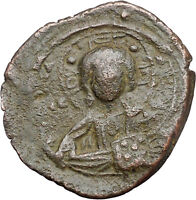 JESUS CHRIST Class B Anonymous Ancient 1028AD Byzantine Follis Coin i47716
