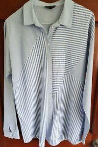 Topshop Blue/White Striped Cotton Oversized Shirt Size 12