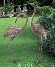 Garden Crane Pair Statues Heron Coastal Bird Sculpture Metal Patio Pond Yard Art