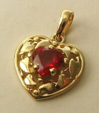 GENUINE SOLID 9K 9ct YELLOW GOLD LOVE HEART RUBY Pendant
