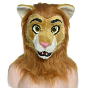 Realistic Fursuit Hood Animal Lion Costume  Headgear Cosplay Moving Mouth