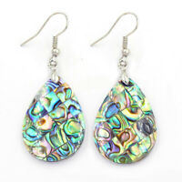 New Women Holiday Party Jewelry Natural Abalone Shell Handmade Silver Earrings