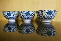 New Set of 3 Daiso Japan Porcelain Indigo Blue Rice Soup Dessert Bowls Arabesque