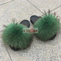 2019 Fashion Women Fluffy Big Real Raccoon Fur Slides Slippers Sandal Flat Shoes