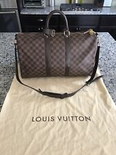 100% Auth.- LOUIS VUITTON Bandouliere 45 Keepall Duffle Bag Damier Ebene Canvas