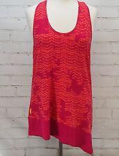 LOLE Summer Tank Top Scoop Neck Asymmetrical Hem Sleeveless Sz L Pink Print