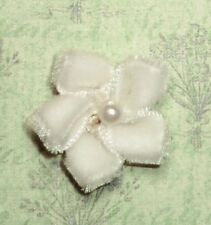 """12 Velvet Flowers with pearl bead Appliques 8 colors Approx. 1"""""""