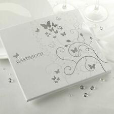 Gästebuch Hochzeit Schmetterlinge weiß/silber 22 x 19 cm