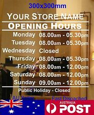 OPENING TRADING HOURS shop sign Business custom text Vinyl sticker 30x30cm