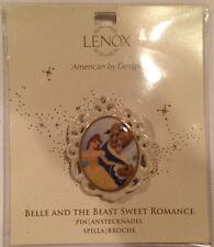 Lenox Disney Beauty And The Beast Pin Brooch Rare HTF Ceramic Cameo