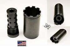 "5/8""-24 Muzzle Brake W/Cone Multi Function EXTERNALTHREAD ADAPTER 13/16-16 .308"