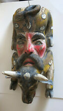 Vintage Two Culture Hand-Painted Folk Art Wood Bull With Man Mask ca.1930 Mexico