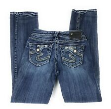 """Silver Suki Flap 17"""" Low Rise Embellished Distressed Blue Jeans Women's 25x31"""