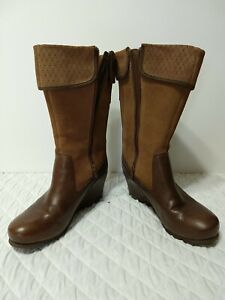 Merrell Women's US 9 Boots Suede Leather Brown Smooth Wedge Lyla
