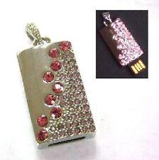 USB Stick 16 GB Schmuck Ketten Anhänger silber -farbig Rosa Pink Strass