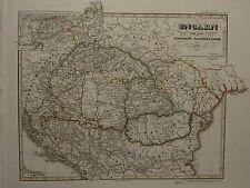 1846 SPRUNER ANTIQUE HISTORICAL MAP ~ HUNGARY 1526 BULGARIA WALLAIS