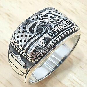 925 Sterling Silver Plain Solid Harley Devidson Women& Men Ring