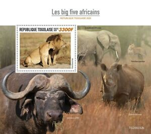 Togo Wild Animals Stamps 2020 MNH Big Five Elephants Leopards Lions Fauna 1v S/S
