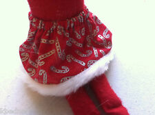 """ELF CHRISTMAS Clothes Red Skirt with Silver Candy Cane Fur on Hem 12"""" Pixie Elf"""