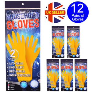 12 PAIRS OF YELLOW LATEX GLOVES HOUSEHOLD WASHING UP CLEANING HYGIENE PROTECTIVE