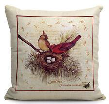 Kissenhülle -bezug Motivkissen Roter Kardinal mit Nest und Gelege Canvas-Stoff