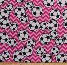 Fleece Soccer Balls on Pink Chevron Stripes Sports Fleece Fabric Print A408.29