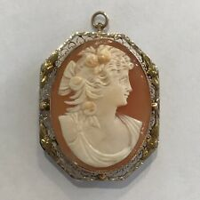 Carved Cameo Brooch Pin Pendant Antique Victorian Lady 10k Gold Setting