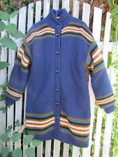 Vintage Fox Run Two long sweater jacket coat quilted lining toggle button blue M
