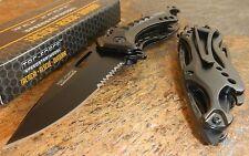 TAC FORCE Spring Assisted Open POLICE Black Bottle Opener Tactical Pocket Knife