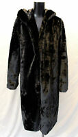 Boohoo Women's Hooded Faux Fur Coat LP7 Black Size US:6 UK:10 NWT