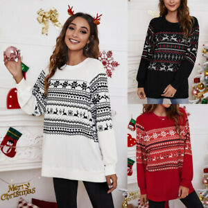 Womens Christmas Pullover Ladies Patchwork Casual Tee Blouse Xmas Shirt Tops