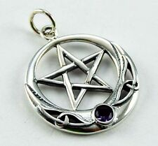 **BEAUTIFUL SOLID SILVER PENTAGRAM PENDANT WITH AMETHYST CRYSTAL**