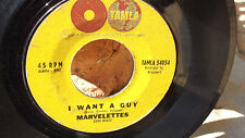 THE MARVELETTES ON TAMLA RECORDS I WANT A GUY / SWINGIN POSTMAN VG+ COPY SOUL..