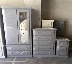 HANDMADE COTSWOLD GREY 3 PIECE BEDROOM SET NO FLAT PACKS NO SELF ASSEMBLY