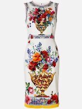 $1995 Dolce & Gabbana AUTH NWT Majolica Vase Floral Tile Multi Print Dress 46