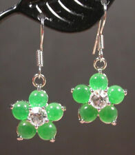 Green Jade Cabochon Imitation Diamond Flower Gold Plated Hook Dangle Earrings