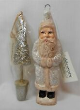Vtg 2 Christmas Ornaments Dekorasyon Tree & Santa Figure w/ Tag Silver Gold Nwt