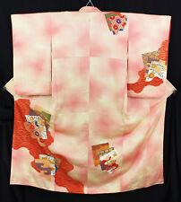 小紋 着物 Komon Kimono - Yuzen y flores - 100% seda - hecho en Japón 21943