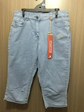 BNWT Ladies Sz 10 Rivers Brand Stretch Pale Blue Denim Crop Style Pants Jeans
