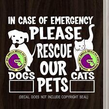 RESCUE OUR PETS EMERGENCY Vinyl Decal Sticker Dog Cat Front Door Window Sign