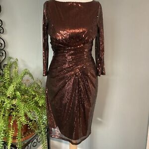 Festive Warehouse Bronze Sequinned Dress Size 10 Cocktail Party Mini Low Back