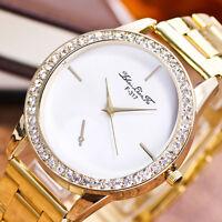 Luxury Men Women Watch Stainless Steel Crystal Diamond Analog Quartz Wrist Watch
