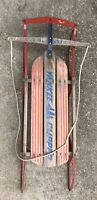 """ANTIQUE Wooden Snow Sledge 45"""" Long 21"""" Wide Flexible Flyer Sled YANKEE CLIPPER"""