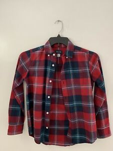 Childrens Place Boys Long Sleeve Button Up Shirt blue And Red Plaid Size L 10/12