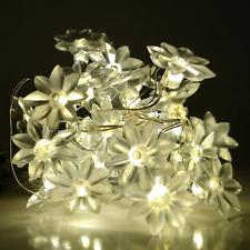 Solar Powered Lotus Flower String Lights - 30 LED Warm White, 8 Modes